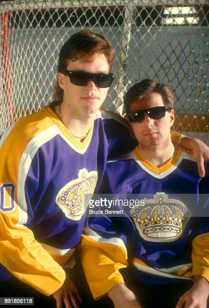 Luc Robitaille and Jimmy Carson of the Los Angeles Kings pose for a portrait with sunglasses circa March 1988