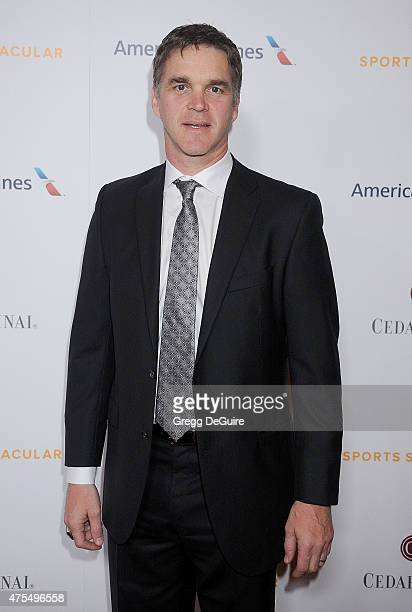 Luc Robitaille Los Angeles Kings President Business Operations arrives at the CedarsSinai Sports Spectacular at the Hyatt Regency Century Plaza on...