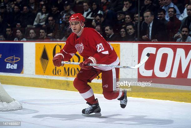 Luc Robitaille of the Detroit Red Wings skates on the ice during an NHL game against the Montreal Canadiens on February 11 2002 at the Molson Centre...