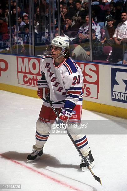 Luc Robitaille of the New York Rangers skates on the ice during an NHL preseason game in September 1995 at the Madison Square Garden in New York New...