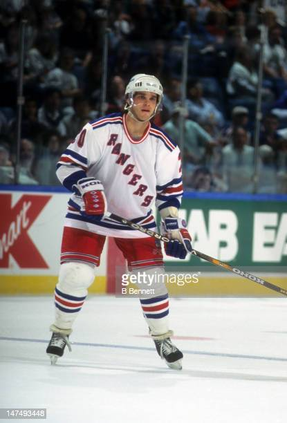 Luc Robitaille of the New York Rangers skates on the ice during an NHL game against the New York Islanders on October 17 1995 at the Nassau Coliseum...