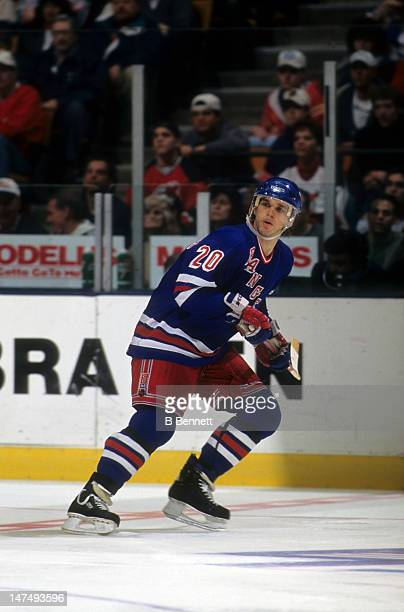 Luc Robitaille of the New York Rangers skates on the ice during an NHL game against the New Jersey Devils on April 7, 1996 at the Continental...