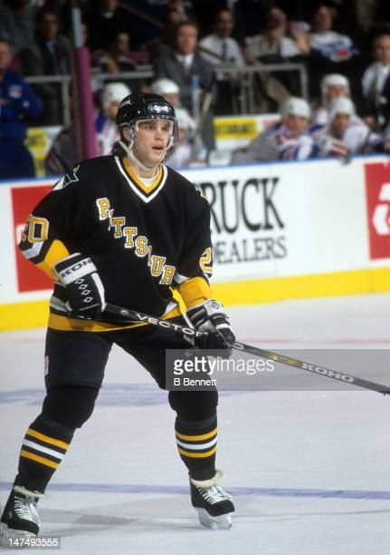 Luc Robitaille of the Pittsburgh Penguins skates on the ice during an NHL game against the New York Rangers on January 25 1995 at the Madison Square...