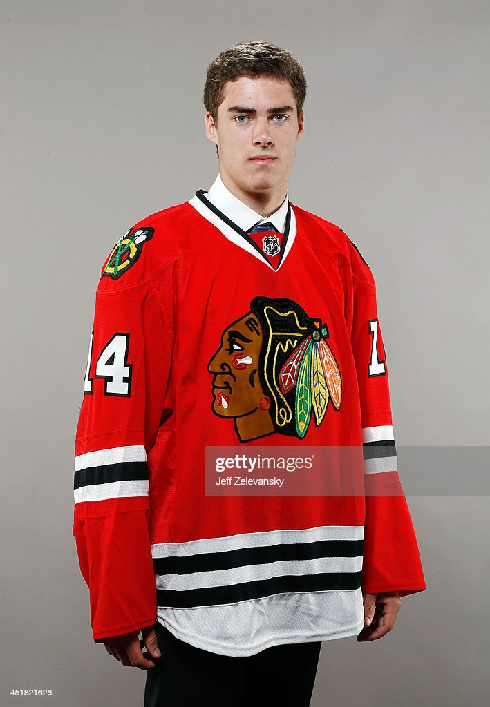 Luc Snuggerud of the Chicago Blackhawks poses for a portrait during the 2014 NHL Draft at the Wells Fargo Center on June 28, 2014 in Philadelphia, Pennsylvania.