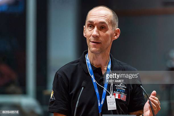 Luc Vincent Google Senior Director Engineering in Geo Imagery speaks to journalists at a control center during the Vega rocket launching from the...