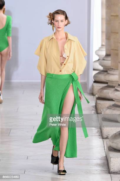 Luca Adamik walks the runway during the Veronique Leroy show as part of the Paris Fashion Week Womenswear Spring/Summer 2018 on September 30 2017 in...
