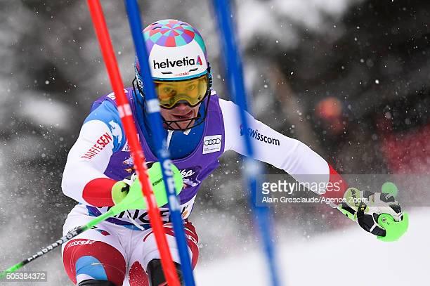 Luca Aerni of Switzerland competes during the Audi FIS Alpine Ski World Cup Men's Slalom on January 17 2016 in Wengen Switzerland