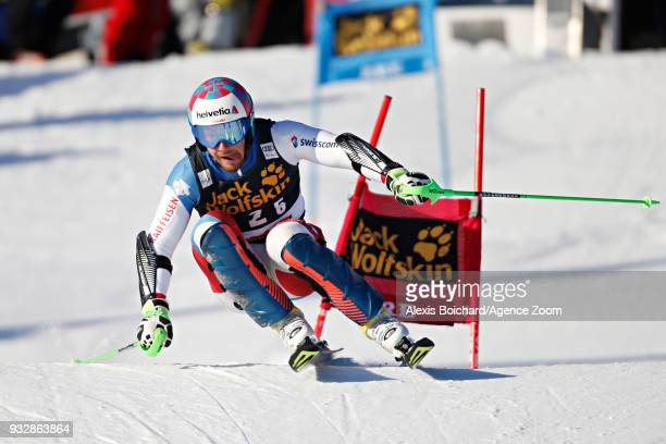 Luca Aerni of Switzerland competes during the Audi FIS Alpine Ski World Cup Finals Men's and Women's Team Event on March 16 2018 in Are Sweden