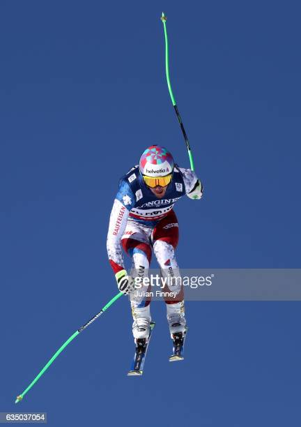 Luca Aerni of Switzerland competes in the Men's Combined Downhill during the FIS Alpine World Ski Championships on February 13 2017 in St Moritz...