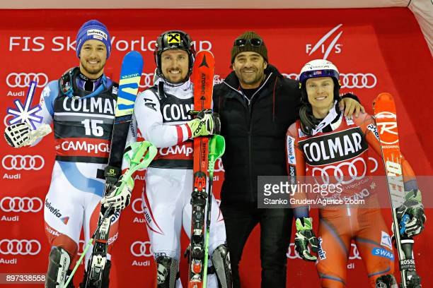 Luca Aerni of Switzerland takes 2nd place Marcel Hirscher of Austria takes 1st place Alberto Tomba of Italy Henrik Kristoffersen of Norway takes 3rd...