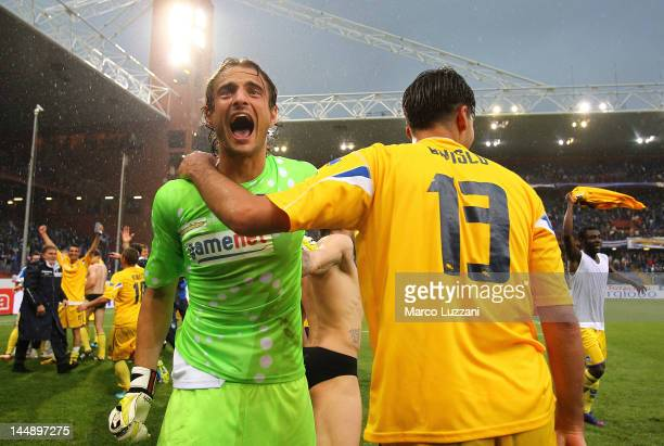 Luca Anania and Riccardo Bosco of Pescara Calcio celebrate after their promotion to Serie A after the Serie B match between UC Sampdoria and Pescara...