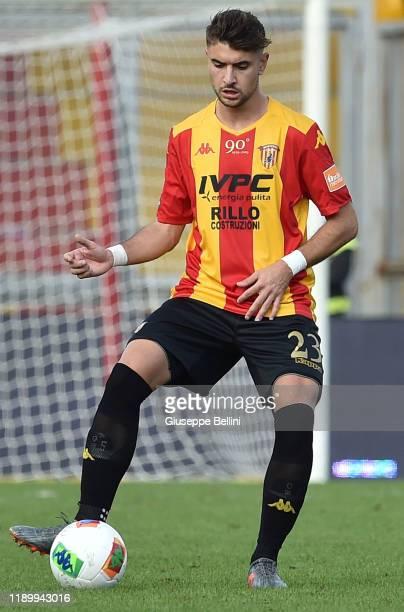 Luca Antei of Benevento Calcio in action during the Serie B match between Benevento Calcio and Crotone FC at Stadio Ciro Vigorito on November 23 2019...