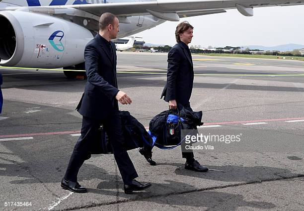 Luca Antonelli and Riccardo Montolivo of Italy arrive to Florence Airport on March 25 2016 in Florence Italy