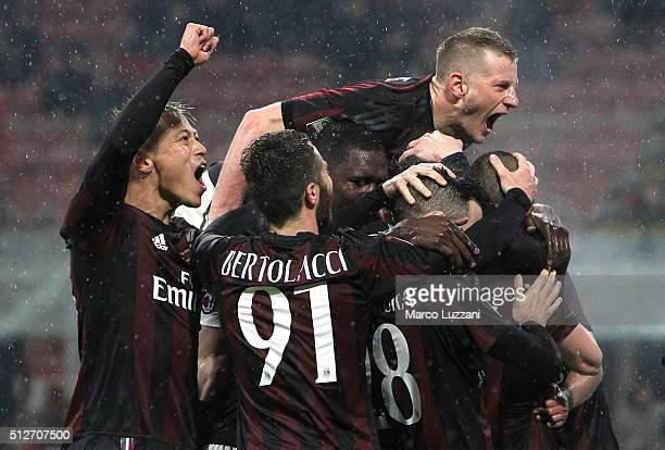 Luca Antonelli of AC Milan celebrates with his teammates after scoring the opening goal during the Serie A match between AC Milan and Torino FC at...