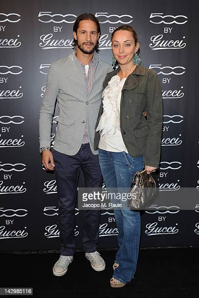 Luca Antonini and Benedetta Antonini attend 500 by Gucci Short Film Collection cocktail party on April 16 2012 in Milan Italy