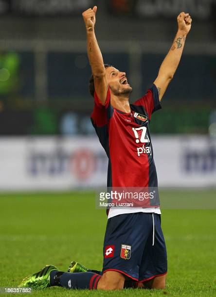 Luca Antonini of Genoa CFC of Parma FC celebrates a victory at the end of the Serie A match between Genoa CFC and Parma FC at Stadio Luigi Ferraris...