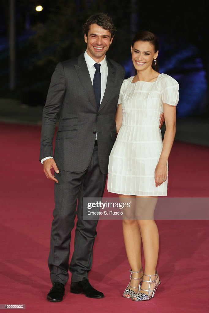 Luca Argantero and Saadet Aksoy attend the 'Ragion Di Stato' pink carpet at Auditorium Parco Della Musica as a part of Roma Fiction Fest 2014 on September 16, 2014 in Rome, Italy.