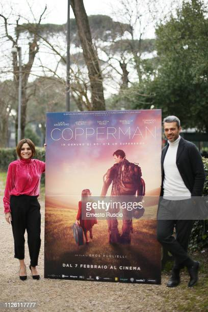 Luca Argentero and Antonia Truppo attend Copperman photocall at Casa del Cinema on January 30 2019 in Rome Italy