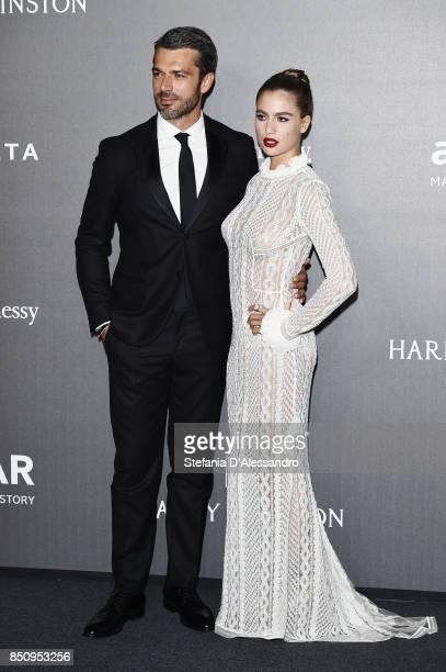 Luca Argentero and Cristina Marino walk the red carpet of amfAR Gala Milano on September 21 2017 in Milan Italy