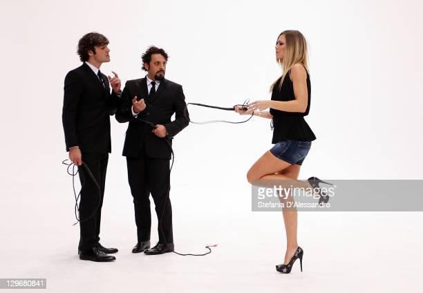 "Luca Argentero, Enrico Brignano and Ilary Blasi attend ""Le Iene"" Italian TV Show held at Mediaset Studios on October 19, 2011 in Milan, Italy."