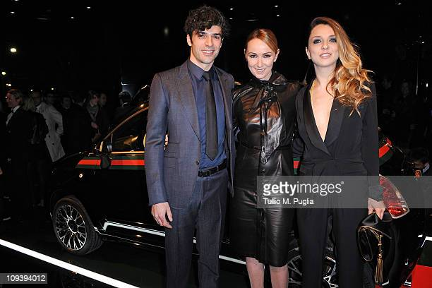 Luca Argentero Frida Giannini and Myriam Catania attend the 550 by Gucci launch party during the Milan fashion week womenswear Autumn/Winter 2011 on...