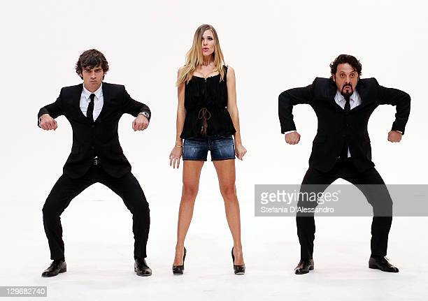 "Luca Argentero, Ilary Blasi and Enrico Brignano attend ""Le Iene"" Italian TV Show held at Mediaset Studios on October 19, 2011 in Milan, Italy."