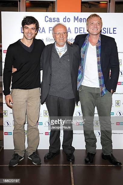 Luca Argentero Renato Chiera and Davide Scalenghe attend 'Casa Do Menor L'altra Faccia Del Brasile' Milan Photocall on November 14 2013 in Milan Italy