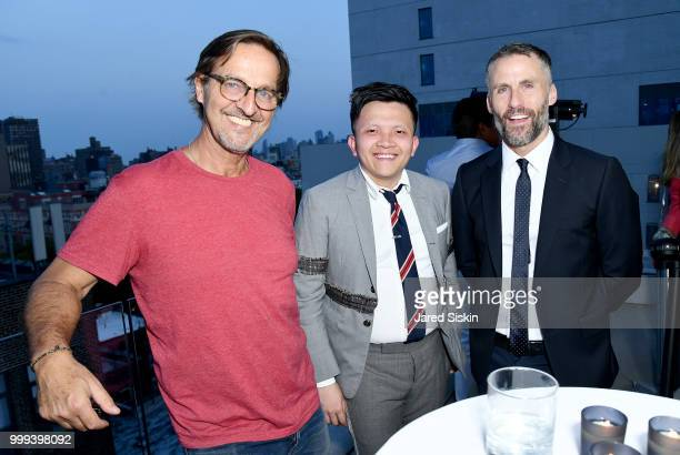 Luca Babini Man Hoang and Aldo del Bo Kaspersky Lab are seen at Art Goes Green event at The New Museum in New York organized by Kaspersky Lab in...