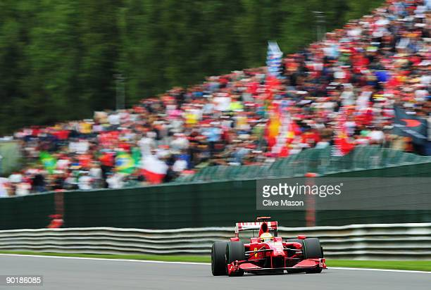 Luca Badoer of Italy and Ferrari drives during the Belgian Grand Prix at the Circuit of Spa Francorchamps on August 30 2009 in Spa Francorchamps...