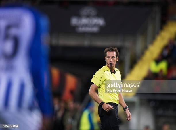 Luca Banti, referee, during the UEFA Europa League group J match between Ostersunds FK and Hertha BSC at Jamtkraft Arena on September 28, 2017 in...