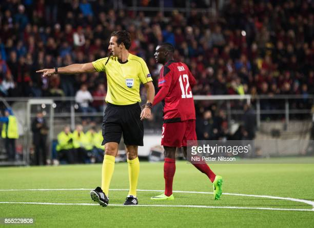 Luca Banti, referee, points to the penalty spot during the UEFA Europa League group J match between Ostersunds FK and Hertha BSC at Jamtkraft Arena...