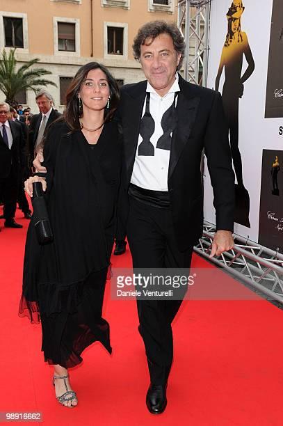 Luca Barbareschi and his wife attend the 'David Di Donatello' movie awards at the Auditorium Conciliazione on May 7 2010 in Rome Italy