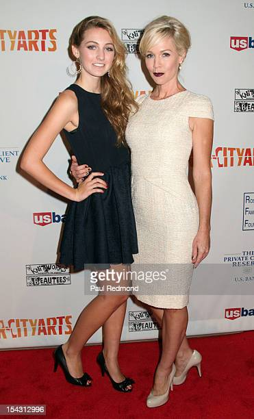 Luca Bella Facinelli and her mother actress Jennie Garth arrive at InnerCity Arts Gala at The Beverly Hilton Hotel on October 17 2012 in Beverly...