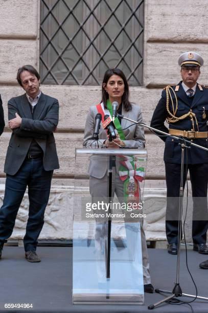 Luca Bergamo Deputy Mayor of Rome with Virginia Raggi mayor of Rome during the inauguration the new Museum of Rome at Palazzo Braschi Piazza Navona...
