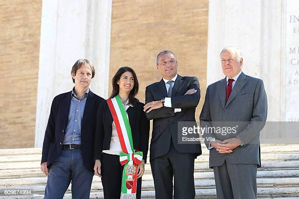 Luca Bergamo Rome Mayor Virginia Raggi Bvlgari CEO JeanChristophe Babin and Nicola Bulgari attend the Bvlgari Tribute To Spanish Steps Press...
