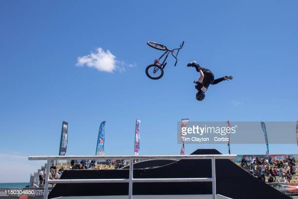 Luca Bertrand from Clapiers France parts company with his bike as he attempts a somersault during the BMXFreestyle ParkAmateur competition at the...