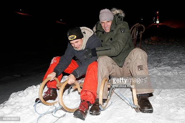 Luca Bettermann and Bernhard Bettermann attend the Snowshoe Hiking And Slide Tour - Tirol Cross Mountain 2013 on December 05, 2013 in Innsbruck,...