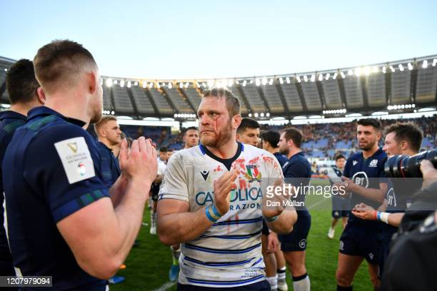 Luca Bigi of Italy leads his team off after defeat in the 2020 Guinness Six Nations match between Italy and Scotland at Stadio Olimpico on February...