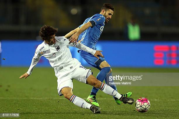 Luca Bittante of Empoli FC battles for the ball with Dodo' of UC Sampdoria during the Serie A match between Empoli FC and UC Sampdoria at Stadio...