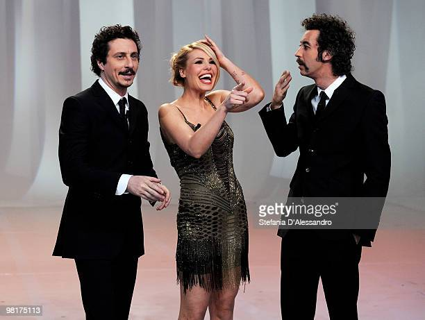 Luca Bizzarri, Ilary Blasi and Paolo Kessisoglu attend the ''Le Iene'' television Show at Mediaset Studios on March 31, 2010 in Milan, Italy.