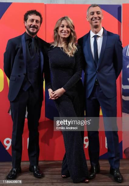 Luca Bizzarri Mia Ceran and Paolo Kessisoglu attend the Il Campionato Fa 90 Tv Show on December 19 2019 in Milan Italy