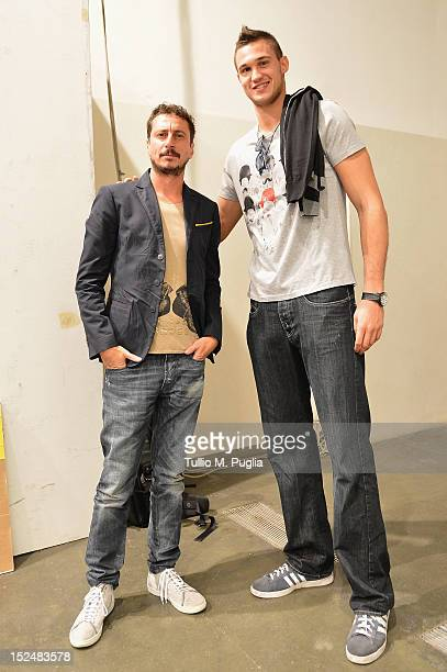 Luca Bizzarri, Paolo Gerani and Danilo Gallinari backstage ahead of the Iceberg Spring/Summer 2013 fashion show as part of Milan Womenswear Fashion...
