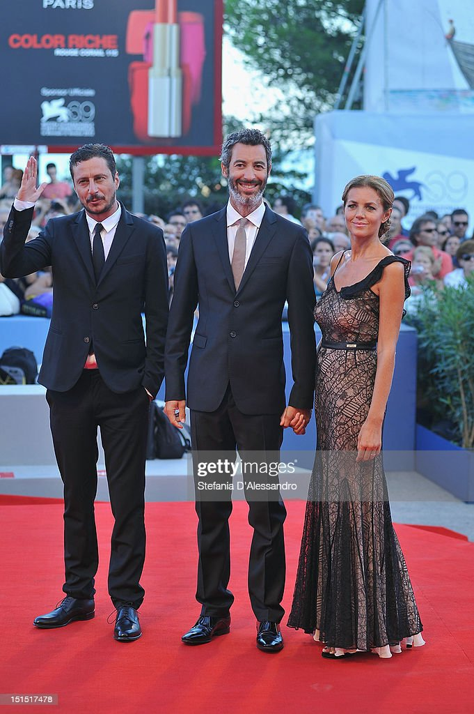 Luca Bizzarri, Paolo Kessisoglu and Sabrina Donadel attend the Award Ceremony and 'L'Homme Qui Rit' Arrivals during The 69th Venice Film Festival at the Palazzo del Cinema on September 8, 2012 in Venice, Italy.