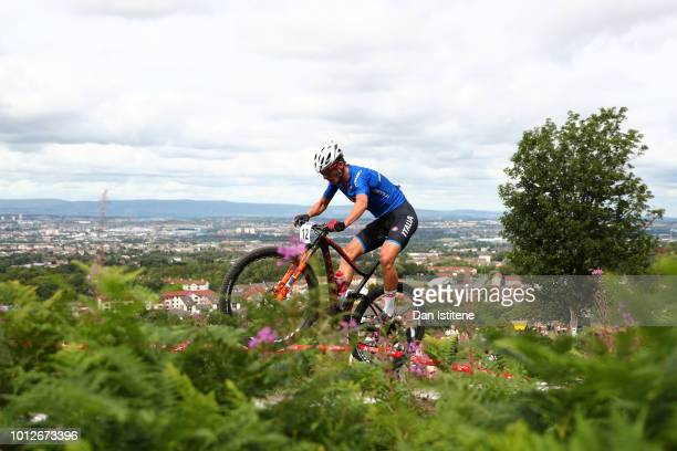 Luca Braidot of Italy rides during the Men's Mountain Bike Cross-Country on Day Six of the European Championships Glasgow 2018 at Cathkin Braes...