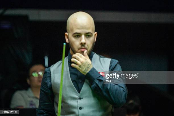 Luca Brecel of Belgium reacts during his final match against Shaun Murphy of England on day seven of Evergrande 2017 World Snooker China Champion at...