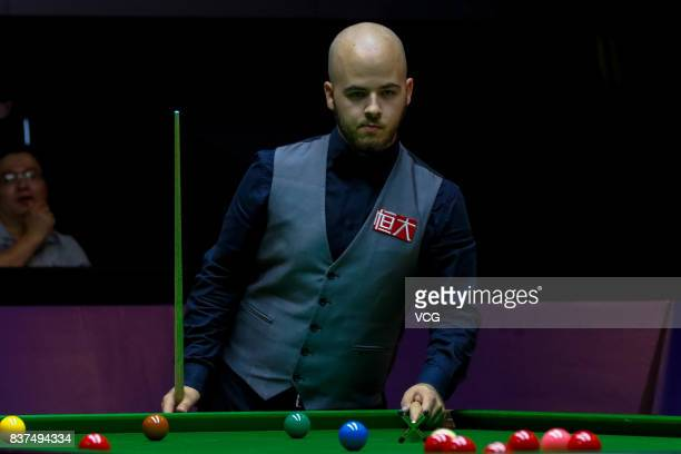 Luca Brecel of Belgium reacts during the final match against Shaun Murphy of England on day seven of Evergrande 2017 World Snooker China Champion at...