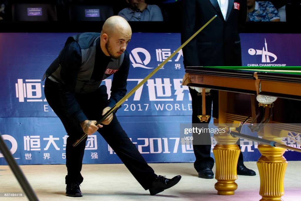 Luca Brecel of Belgium reacts during the final match against Shaun Murphy of England on day seven of Evergrande 2017 World Snooker China Champion at Guangzhou Sport University on August 22, 2017 in Guangzhou, Guangdong Province of China.