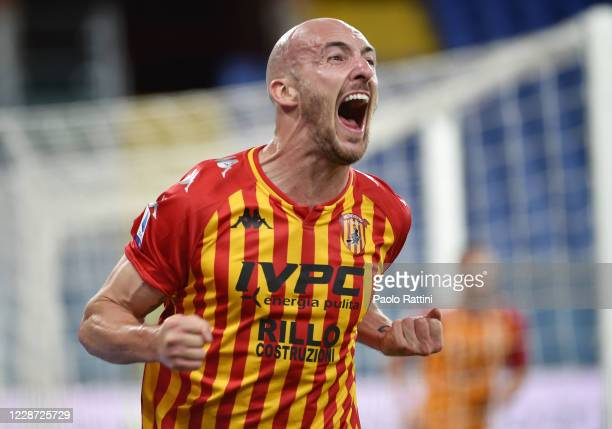 Luca Caldirola of Benevento Calcio celebrates after scoring the second goal during the Serie A match between UC Sampdoria and Benevento Calcio at...