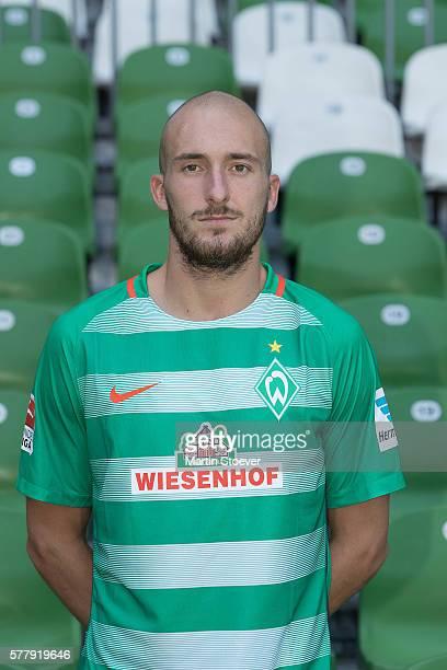 Luca Caldirola poses during the offical team presentation of Werder Bremen on July 20 2016 in Bremen Germany