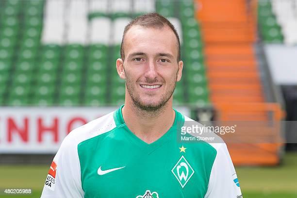 Luca Caldirola poses during the official team presentation of Werder Bremen at Weserstadion on July 10 2015 in Bremen Germany